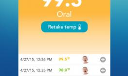 Screenshot of Vicks SmartTemp Thermometer app showing the large print temperature reading.