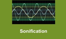 "Image of picture with three sound waves and text, ""Sonification"""