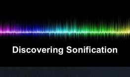 "Brightly colored sound wave with text, ""Discovering Sonification"""
