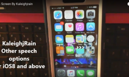 "Image of iPhone and text, ""KaleighjRain Other speech options for iOS 8 and above"""