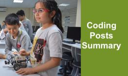 "Two elementary students working with a robot and computer in the background with text, ""Coding Posts Summary"""