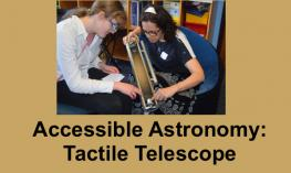 Photo of Kate explaining the tactile telescope model to a high school student.