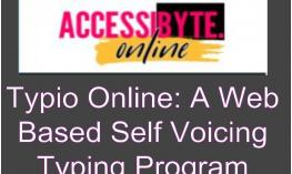 """Typio Logo and text, """"Type Online: A Web Based Self Voicing Typing Program"""""""