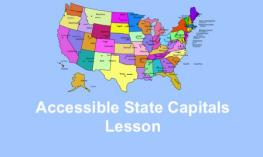 Map of US states, labelled Accessible State Capitals Lesson