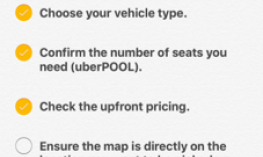 Uber Checklist in the Notes app enables O&Ms to quickly check off student skills.