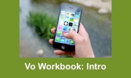 """Hand holding an iPad with text, """"VO Workbook: Intro"""""""