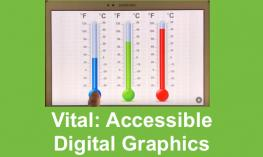 "Screenshot of Thermometers on Vital app with text, ""Vital: Accessible Digital Graphics"""
