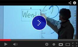 A presenter writes her name on the Smart Boards.