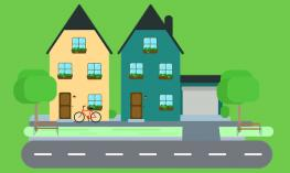 Cartoon drawing of two homes, street, sidewalk and parked bicycle.