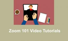 "Cartoon image of hands on a computer displaying Video conference and text, ""Zoom 101 Video Tutorials"""