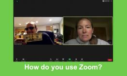 "screenshot of zoom meeting with Dr. Kapperman holding a $20 bill & Dr. Kelly identifying the bill. Text, ""How do you use Zoom?"""