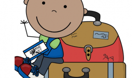 Infer image with text Description: Waving & smiling cartoon boy sitting on a suitcase holding a ticket that says Airline ticket