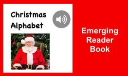 "Christmas Alphabet book cover with an image of Santa, audio button, and text, ""Emerging Reader Book""."