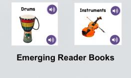"""Photos of the Drums and Instruments book covers and text, """"Emerging Reader Books."""""""