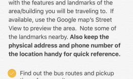 Screenshot of Notes app:  Steps for Riding the Bus checklist