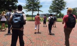 NC State Engineering VIB campers and instructors using BlindSquare on campus routes.