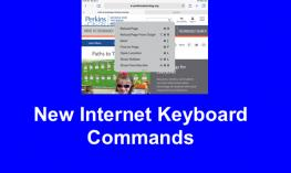 "Screenshot of Paths to Technology home page with with keyboard command popup and text, ""New Internet Keyboard Commands"""