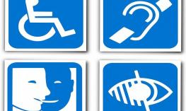 Sign showing various disability symbols: wheelchair, deaf, VI, and mute