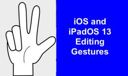 "Outline of hand with thumb, index and middle fingers extended and text, ""iOS and iPadOS 13 Editing Gestures"""