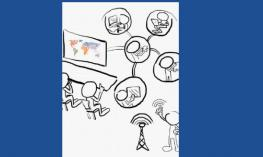 Outline drawing of students connected and collaborating wirelessly in a classroom through technology.