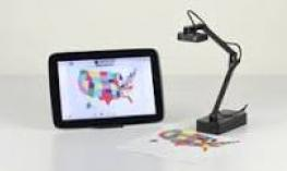Image of an iZiggi Document Camera and iPad.