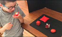 a boy selects an Elmo toy from a collection of red objects