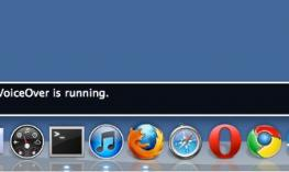 """VoiceOver text, """"Welcome to Mac OS X.  VoiceOver is running."""""""