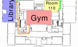 Screenshot of You Doodle app showing annotated map image. Map has colored and labeled the Library, Gym and Room 110 and routes.