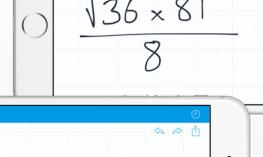 MyScript Calculator screenshot of written math problem converted to text; 1 of 5 educational low vision apps.