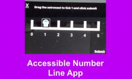 Screenshot of the Accessible Number Line app showing the astronaut placed on the tick mark above the number one.