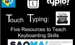 """Image with 5 typing program logos and the text, """" Touch Typing: 5 Resources to Teach Keyboarding Skills"""""""