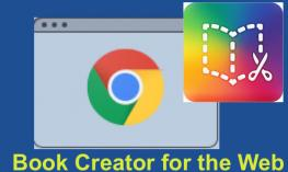 """Chrome and Book Creator logos with text, """"Book Creator for the Web"""""""