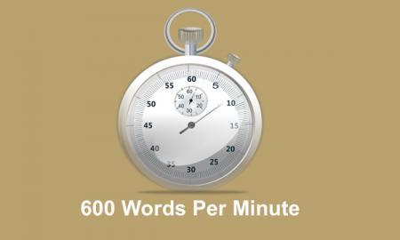 """Image of a stop watch with text, """"600 Words Per Minute""""."""