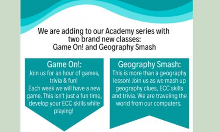 Flier for Game on! and Geography Smash virtual academies.