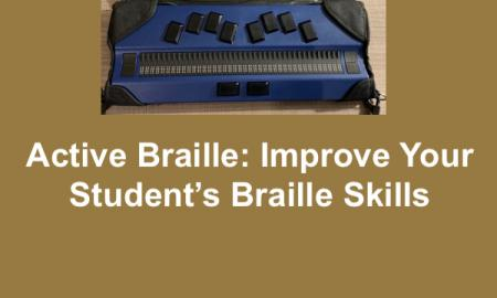 Active Braille, a concave 40-cell refreshable braille display with cursor router keys, a Perkin's style keyboard with a bar keys