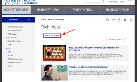 Screenshot of Paths to Technology Tech Ideas page with Add a Tech Idea marked.