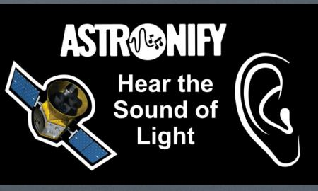 "Images of the Hubble space telescope and an ear with text, ""Astronify: Hear the Sound of Light"""