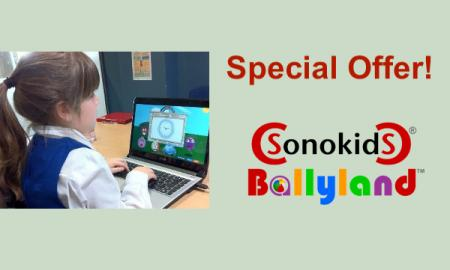 "Image of young girl playing Ballyland Keyboarding computer game, Sonokids Ballyland logo, and text, ""Special offer!"""