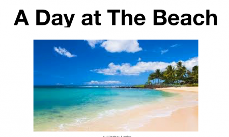 Screenshot of the iBook cover, 'A Day at the Beach' by Lindsey Lanier