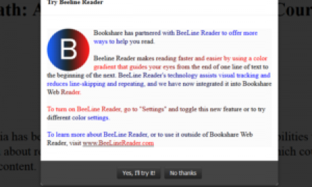 """Screen that comes up to Try Beeline Reader with a large """"B"""" letter and text."""