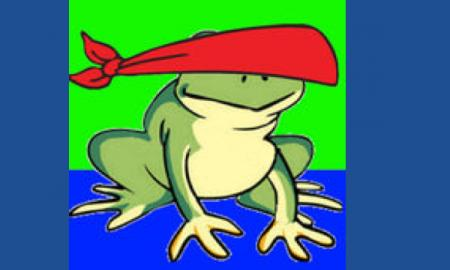 Blindfold Hopper logo: cartoon frog with blindfold bandana covering his eyes.