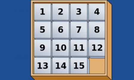 Blindfold Slide Puzzle logo: a 4x4 grid with each block containing a number. ranging 1 - 15.