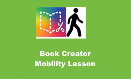 """Book Creator logo, Man walking outline and text, 'Book Creator Mobility Lesson"""""""