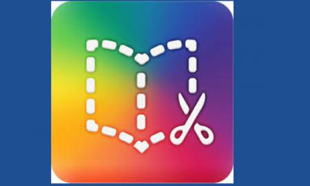 Book Creator Logo: outline of an open book with a pair of scissors