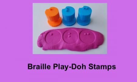 """Photo of ABC 3D printed Play-Doh stamps with text, """"Braille Play-Doh Stamps."""""""