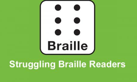 """Image of a Braille Cell with text, """"Struggling Braille Readers""""."""
