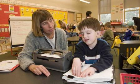 Braille student in general education classroom