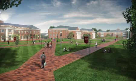 brick roads diverge in a digitized image of a college campus