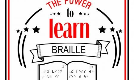 """Poster text, """"Teachers to Students with Visual Impairments give students the power to Braille,"""" with hand over sim Braille"""