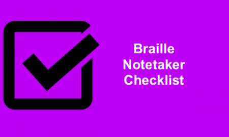 "Checkbox with text, ""BrailleNotetaker Checklist"""